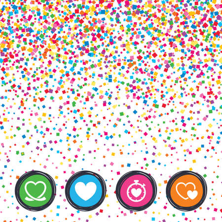 Web buttons on background of confetti. Heart ribbon icon. Timer stopwatch symbol. Love and Heartbeat palpitation signs. Bright stylish design. Vector Çizim