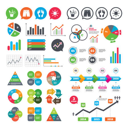 Business charts. Growth graph. Beach holidays icons. Cocktail, human footprints and swimming trunks signs. Summer sun symbol. Market report presentation. Vector