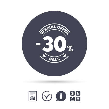 30 percent discount sign icon. Sale symbol. Special offer label. Report document, information and check tick icons. Currency exchange. Vector