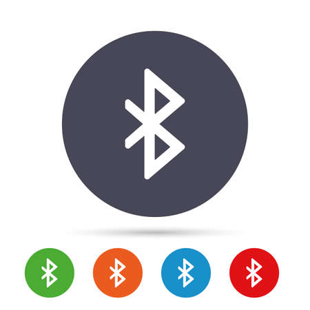Bluetooth sign icon. Mobile network symbol. Data transfer. Round colourful buttons with flat icons. Vector