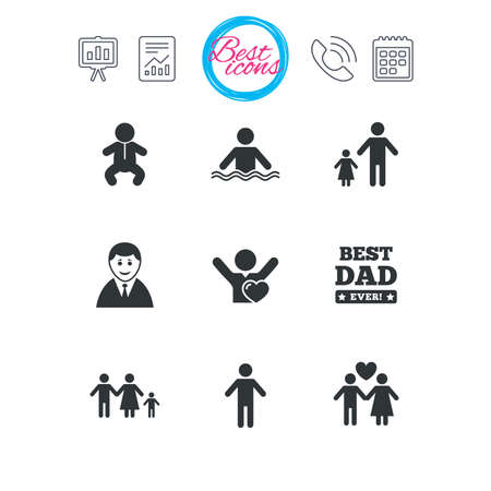 Presentation, report and calendar signs. People, family icons. Swimming pool, love and children signs. Best dad, father and mother symbols. Classic simple flat web icons. Vector