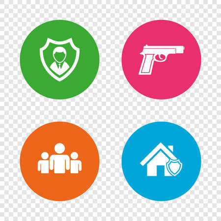 Security agency icons. Home shield protection symbols. Gun weapon sign. Group of people or Share. Round buttons on transparent background. Vector