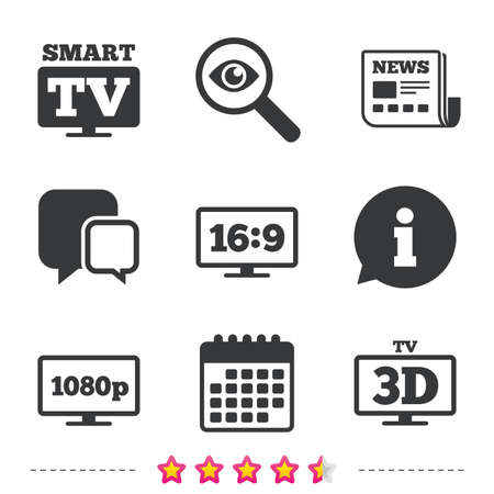 Smart TV mode icon. Aspect ratio 16:9 widescreen symbol. Full hd 1080p resolution. 3D Television sign. Newspaper, information and calendar icons. Investigate magnifier, chat symbol. Vector