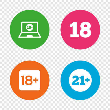 Adult content icons. Eighteen and twenty-one plus years sign symbols. Notebook website notice. Round buttons on transparent background. Vector