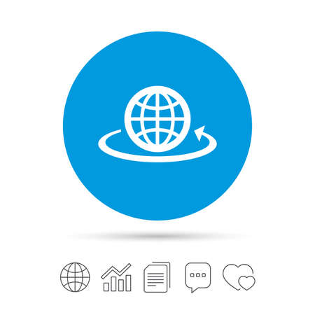 Globe sign icon. Round the world arrow symbol. Full rotation. Copy files, chat speech bubble and chart web icons. Vector