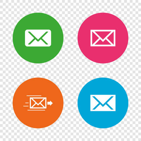 Mail envelope icons. Message delivery symbol. Post office letter signs. Round buttons on transparent background. Vector