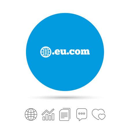 ドメイン EU.COM 記号アイコン。地球とインターネット サブドメイン記号です。ファイルのコピー、音声バブルとグラフ web アイコンをチャットします