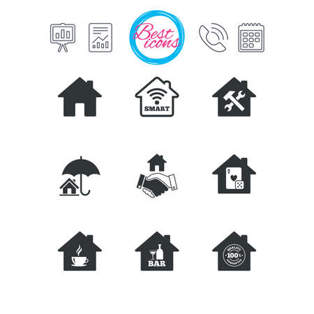 Presentation, report and calendar signs. Real estate icons. House insurance, broker and casino with bar signs. Handshake deal, coffee and smart house symbols. Classic simple flat web icons. Vector Çizim