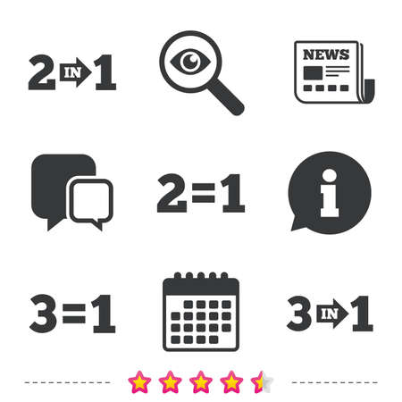equals: Special offer icons. Take two pay for one sign symbols. Profit at saving. Newspaper, information and calendar icons. Investigate magnifier, chat symbol. Vector