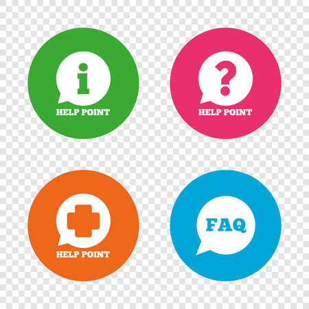 Help point icons. Question and information symbols. FAQ speech bubble signs. Round buttons on transparent background. Vector