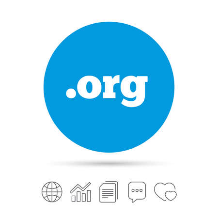 Domain ORG sign icon. Top-level internet domain symbol. Copy files, chat speech bubble and chart web icons. Vector Illustration