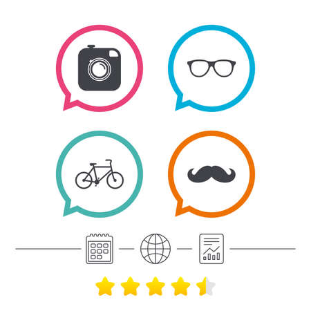 Hipster photo camera with mustache icon. Glasses symbol. Bicycle family vehicle sign. Calendar, internet globe and report linear icons. Star vote ranking. Vector