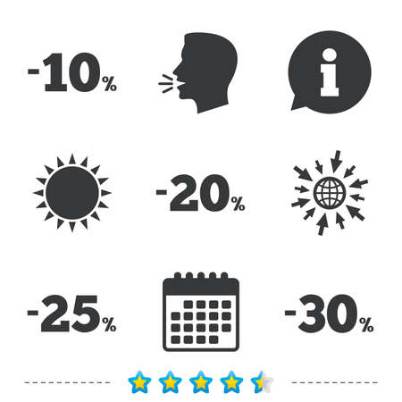 Sale discount icons. Special offer price signs. 10, 20, 25 and 30 percent off reduction symbols. Information, go to web and calendar icons. Sun and loud speak symbol. Vector Çizim