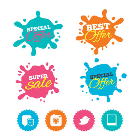 Best offer and sale splash banners. Social media icons. Chat speech bubble symbol. Hipster photo camera sign. Empty photo frames. Web shopping labels. Vector