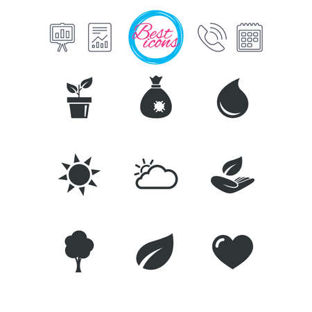 Presentation, report and calendar signs. Garden sprout, leaf icons. Nature and weather signs. Sun, cloud and tree symbols. Classic simple flat web icons. Vector Illustration