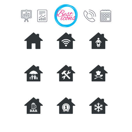 Presentation, report and calendar signs. Real estate icons. Home insurance, maternity hospital and wifi internet signs. Restaurant, service and air conditioning symbols. Classic simple flat web icons
