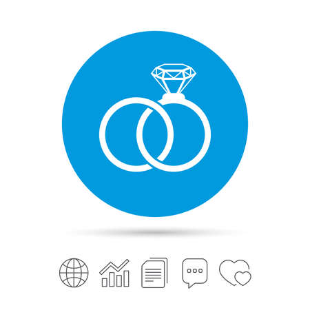 Wedding rings sign icon. Engagement symbol. Copy files, chat speech bubble and chart web icons. Vector