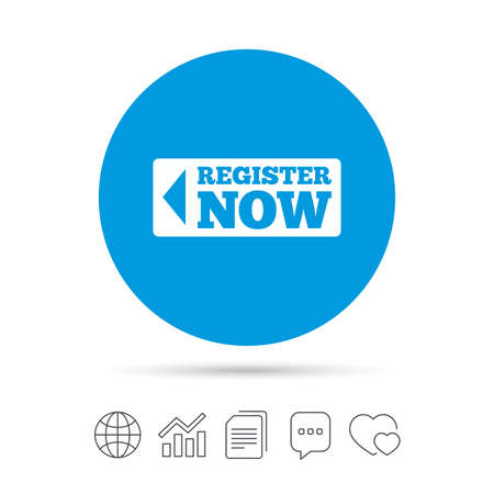 Register now sign icon. Join button symbol. Copy files, chat speech bubble and chart web icons. Vector Reklamní fotografie - 77845304