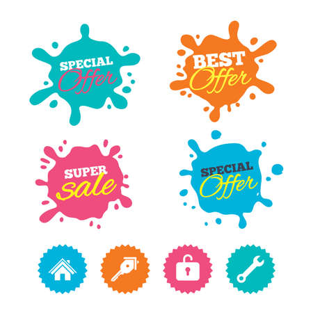 tool unlock: Best offer and sale splash banners. Home key icon. Wrench service tool symbol. Locker sign. Main page web navigation. Web shopping labels. Vector Illustration