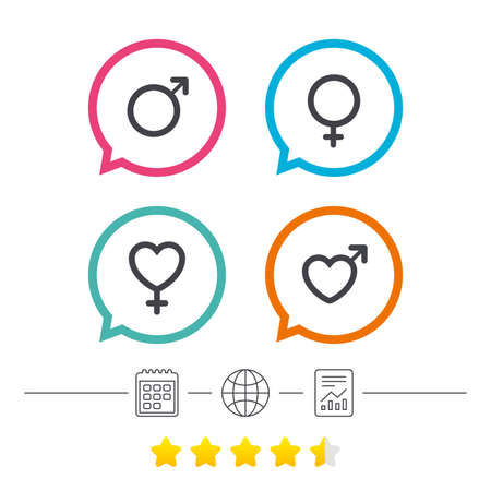 Male and female sex icons. Man and Woman signs with hearts symbols. Calendar, internet globe and report linear icons. Star vote ranking. Vector Illustration
