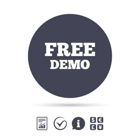 demo: Free Demo sign icon. Demonstration symbol. Report document, information and check tick icons. Currency exchange. Vector