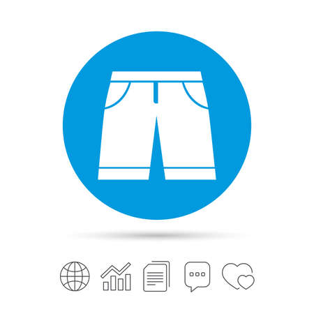 Mens Bermuda shorts sign icon. Clothing symbol. Copy files, chat speech bubble and chart web icons. Vector Ilustração