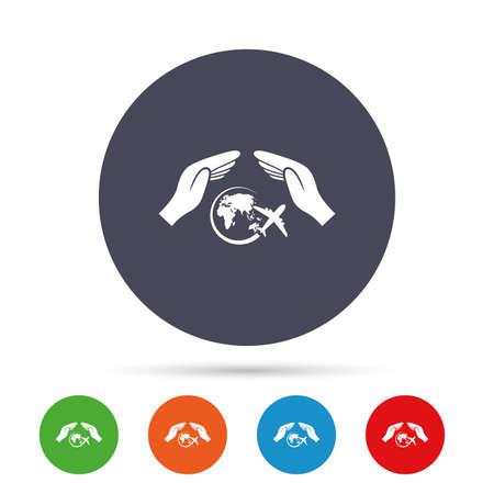 Vlucht reis verzekering teken pictogram. Handen beschermen het dekselvlaksymbool. Reisverzekering. Ronde kleurrijke knoppen met plat pictogrammen. Vector Stock Illustratie