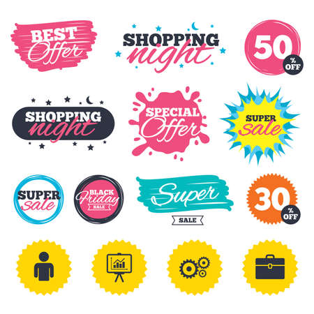 Sale shopping banners. Special offer splash. Business icons. Human silhouette and presentation board with charts signs. Case and gear symbols. Web badges and stickers. Best offer. Vector