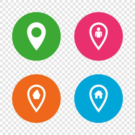 Map pointer icons. Home, food and user location symbols. Restaurant and cupcake signs. You are here. Round buttons on transparent background. Vector Illustration