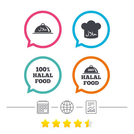 Halal food icons. 100% natural meal symbols. Chef hat sign. Natural muslims food. Calendar, internet globe and report linear icons. Star vote ranking. Vector