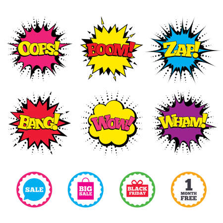 Comic Wow, Oops, Boom and Wham sound effects. Sale speech bubble icon. Black friday gift box symbol. Big sale shopping bag. First month free sign. Zap speech bubbles in pop art. Vector Illustration