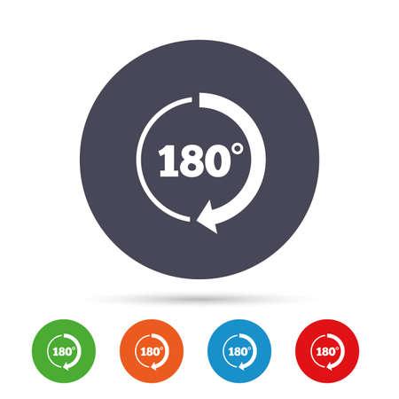 NGulo de 180 grados icono de la muestra. símbolo de la matemáticas de signos. botones redondos planos con los iconos planos. vector Foto de archivo - 77845129
