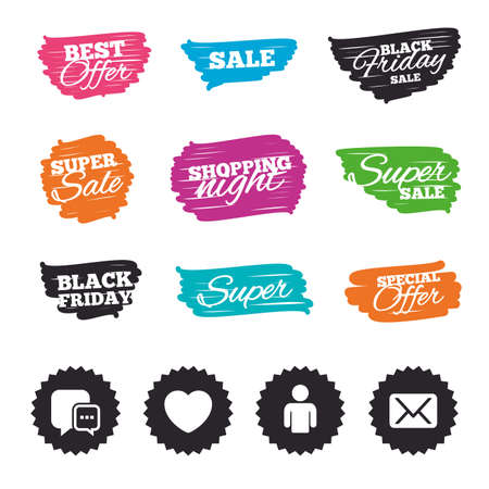 Ink brush sale banners and stripes. Social media icons. Chat speech bubble and Mail messages symbols. Love heart sign. Human person profile. Special offer. Ink stroke. Vector