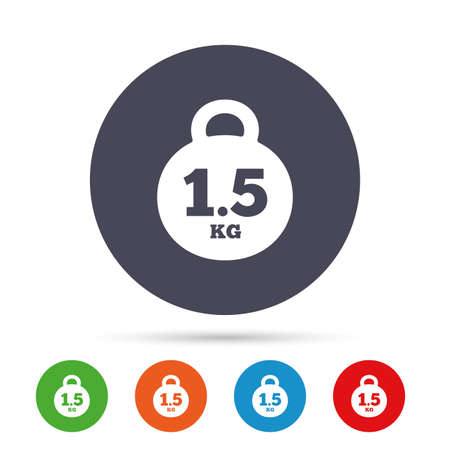 Weight sign icon. 1.5 kilogram (kg). Envelope mail weight. Round colourful buttons with flat icons. Vector