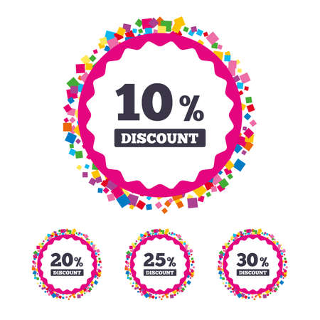 Web buttons with confetti pieces. Sale discount icons. Special offer price signs. 10, 20, 25 and 30 percent off reduction symbols. Bright stylish design. Vector Illustration