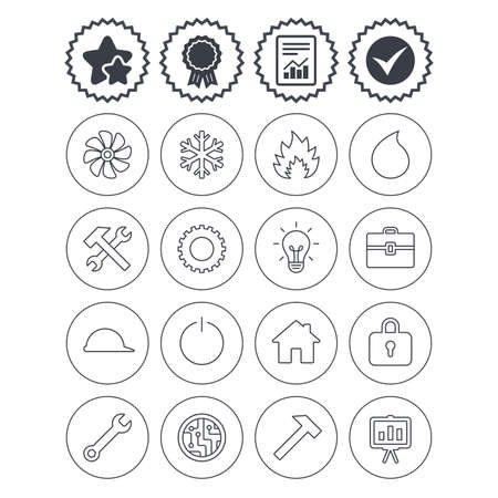 Report, check tick and award signs. Engineering icons. Ventilation, heat and air conditioning symbols. Water supply, repair service and circuit board thin outline signs. Lamp, house and locker