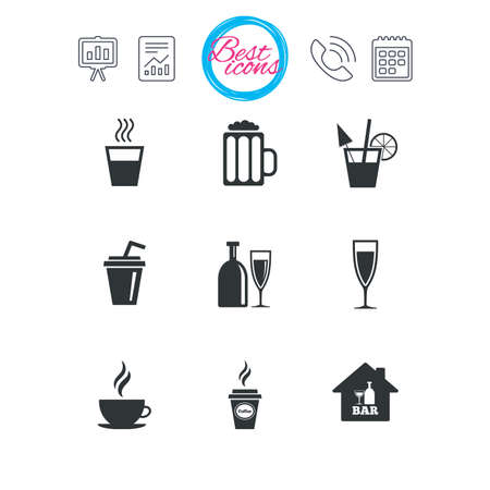 Presentation, report and calendar signs. Cocktail, beer icons. Coffee and tea drinks. Soft and alcohol drinks symbols. Classic simple flat web icons. Vector