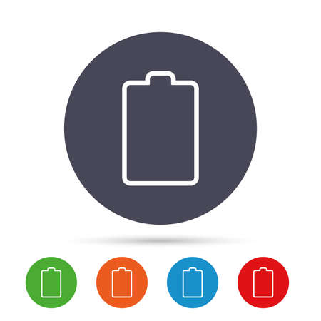 Battery empty sign icon. Low electricity symbol. Round colourful buttons with flat icons. Vector