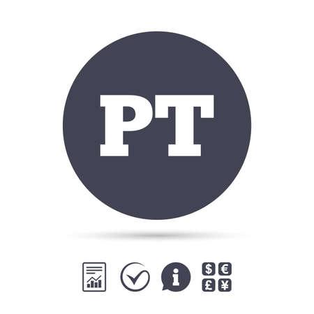 Portugese taal teken pictogram. PT Portugal vertaalsymbool. Rapporteer document, informatie en vink pictogrammen aan. Wisselkantoor. Vector