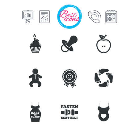Presentation, report and calendar signs. Pregnancy, maternity and baby care icons. Apple, award and pacifier signs. Footprint, birthday cake and newborn symbols. Classic simple flat web icons. Vector