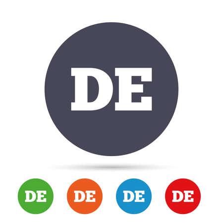 Duitse taal teken pictogram. DE Deutschland vertaalteken. Ronde kleurrijke knoppen met plat pictogrammen. Vector