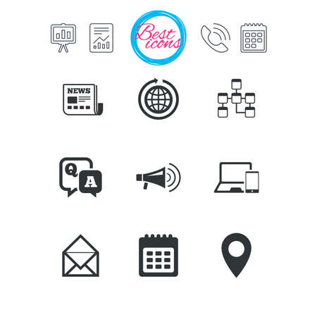 qa: Presentation, report and calendar signs. Communication icons. News, chat messages and calendar signs. E-mail, question and answer symbols. Classic simple flat web icons. Vector