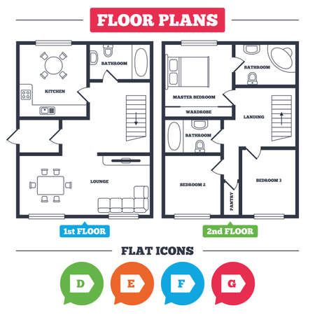 Architecture plan with furniture. House floor plan. Energy efficiency class icons. Energy consumption sign symbols. Class D, E, F and G. Kitchen, lounge and bathroom. Vector 向量圖像