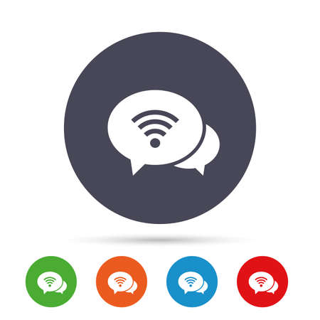 Chat speech bubbles. Wifi sign. Wi-fi symbol. Wireless Network icon. Wifi zone. Round colourful buttons with flat icons. Vector