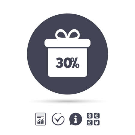 30% sale gift box tag sign icon. Discount symbol. Special offer label. Report document, information and check tick icons. Currency exchange. Vector