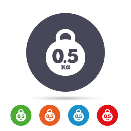 Weight sign icon. 0.5 kilogram (kg). Envelope mail weight. Round colourful buttons with flat icons. Vector 向量圖像