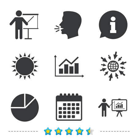 Diagram graph Pie chart icon. Presentation billboard symbol. Supply and demand. Man standing with pointer. Information, go to web and calendar icons. Sun and loud speak symbol. Vector