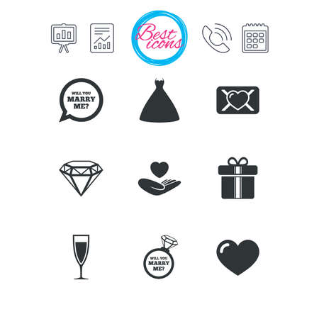 diamond letters: Presentation, report and calendar signs. Wedding, engagement icons. Love oath letter, gift box and brilliant signs. Dress, heart and champagne glass symbols. Classic simple flat web icons. Vector