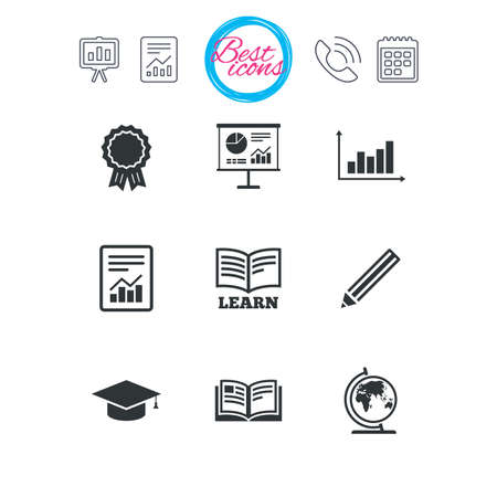 Presentation, report and calendar signs. Education and study icon. Presentation signs. Report, analysis and award medal symbols. Classic simple flat web icons. Vector Illustration