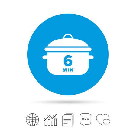 6 Minuten kochen. Kochpfanne Zeichen Symbol. Eintopf Essen Symbol. Kopieren Sie Dateien, Chat-Sprechblasen und Diagrammnetzikonen. Vektor Standard-Bild - 77845317